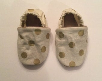 Gold baby shoes, mix match baby shoes, mix match fabric, baby shoes,gold shoes,gold polka dot shoes, baby shoes, soft sole baby mocs,