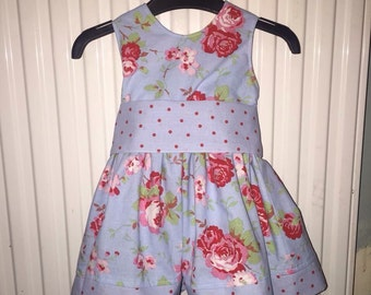 Girls party dress with sash 6mths to 10yrs - Various fabrics available