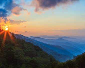 Smoky Mountains Sunrise in Great Smoky Mountains National Park, Tennessee Art, Blue Mountains, Home Decor, Landscape Photograph, Appalachian