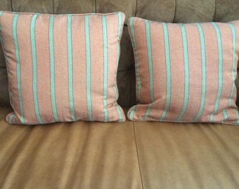 Salmon and Green Striped Pillows