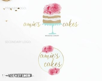 Bakery Logo Design. Watercolor Cake Logo. Logo Set. Sub Mark Logo. Custom Business Branding. Premade Watermark. Cakery Marketing. EL201.