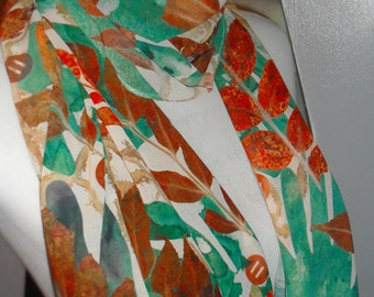 Hand Printed/Ash leaf hand print scarf/gift/The WildeNature Collection