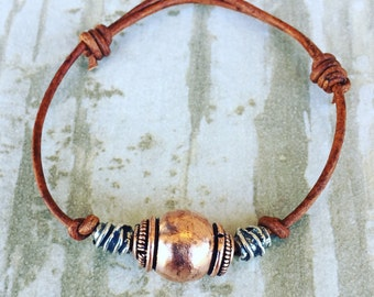 Copper and sterling silver bead bracelet