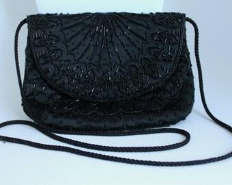 Black Beaded Purse by Carolyne Barton , Black Evening Bag, Formal Bag