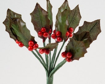 12 Christmas Holly and Berries Spray