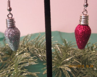 Christmas Earrings, Christmas Bulb, Glitter Earrings, Dangle Earrings, Christmas Light Bulb, Hypoallergenic, Silver