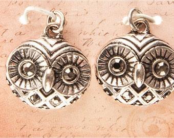Owl Earrings, Silver Owl Earrings, Owl Face, Owl Charm Earrings, Antique Owl Earrings, Owl Jewelry, Owl Dangle Earrings