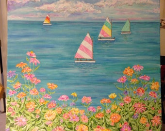 Large Sailboat painting 36 x 48 Sale!!! 150.00 !!!! Original  art!