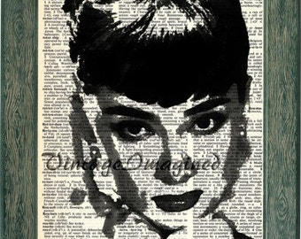 Audrey Hepburn art print on upcycled dictionary page 8x10