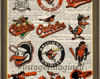 Baltimore Orioles Logo history dictionary art print on upcycled vintage dictionary page 8x10, Orioles art. Baltimore Orioles logo