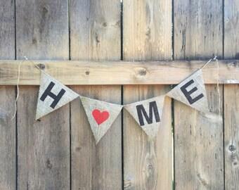 HOME Burlap Banner - Customize!