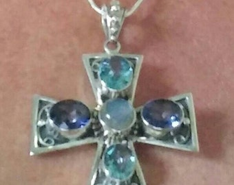 Sale! Spectacular Sterling Faceted Blue Stone Cross Made in India
