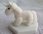 Glitter White unicorn handmade fantasy animal horse ornament decoration novelty using Fimo polymer clay for your mantlepiece or shelf gift
