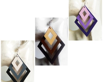 Wooden Earrings - Diamond