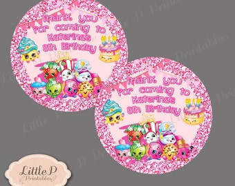 Shopkins Thank you Label. Shopkins Thank you Gift Label. Shopkins Sticker. Shopkins personalised Label.  2 inches Round Label Sticker  001