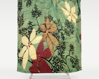 Japanese Art Chambray Floral Black Branches White Flowers Shower Curtain Japanese Art Shower Curtain Chambray Shower Curtain Floral Black