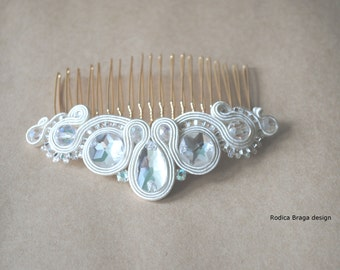 Soutache hair comb Soutache jewelry Hand embroidered comb Soutache comb hair comb soutache