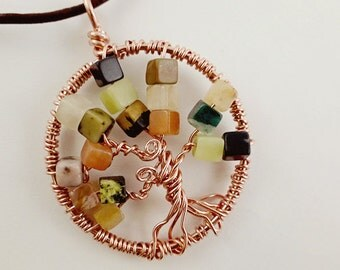 Tree of Life Necklace, Copper & Gemstone