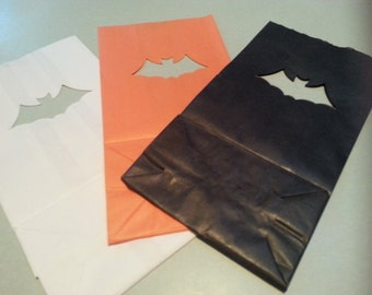 Halloween Luminary Bags - BATS (choose your color)  Pack of 10