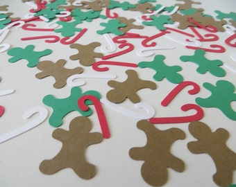 Christmas Confetti with Gingerbread Man and Candy Cane Confetti - Set of 120 - Handmade - Table Confetti