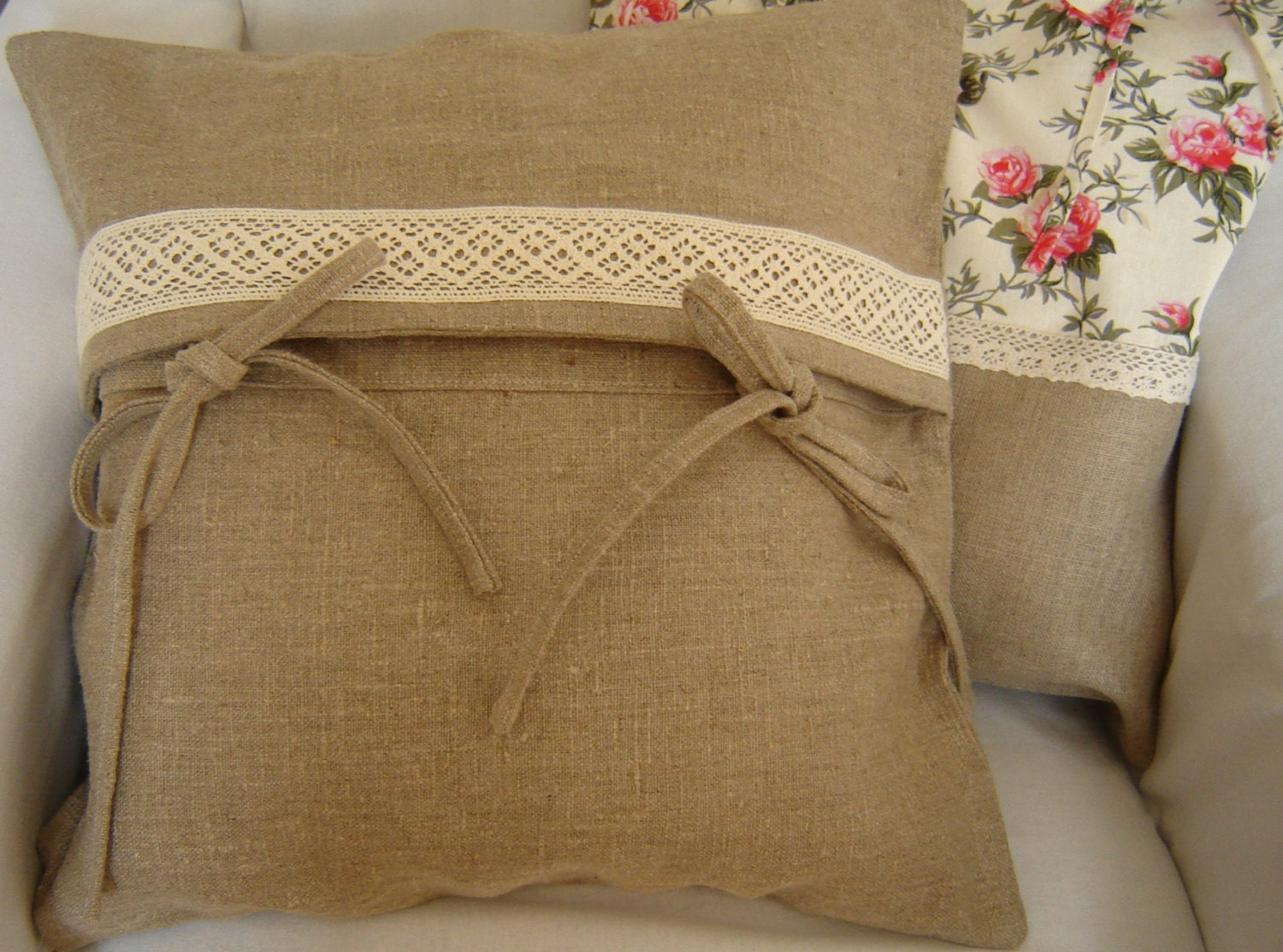 Natural linen pillow cover with cotton lace. Decorative