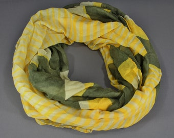 Olive Green Cream Yellow stripe striped pattern lightweight gauzy infinity loop cowl long scarf fall autumn gray