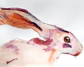 Hare original watercolor painting. Unusual birthday present. Wall art - Cute bunny watercolour picture. Contemporary psychedelic artwork.