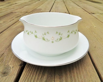 Vintage Sheffield China Gravy Boat with Attatched Under-dish 1960s