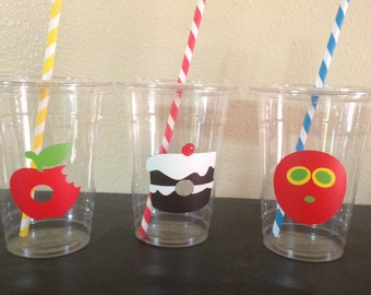 Very hungry caterpillar birthday party cups