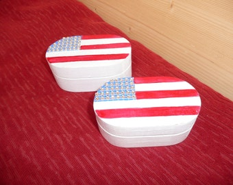 Stars and stripes handpainted wooden trinket box with sparkly stars