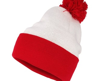 Waldo and Wenda Halloween Costume Knit Beanie Hat with Pom Pom