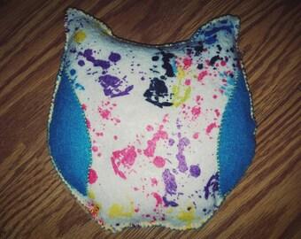 Paint splatter owl ouchie bag! Big!