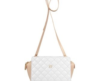 Leather Crossbody Bag, White Leather Shoulder Bag, Women's Leather Cross body Bag, Leather bag KF-558