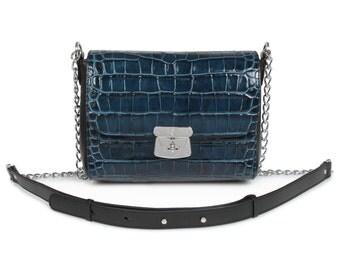 Leather Cross body Bag, Dark blue Leather Shoulder Bag, Women's Leather Crossbody Bag, Leather bag KF-591