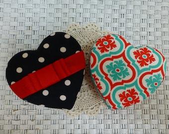 Heart shape fabric covered box Cartonnage