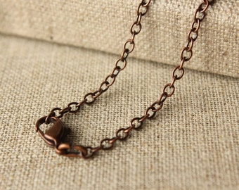 16 inch to 30 inch antiqued Copper chain with clasp