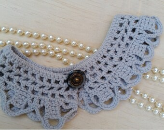 Crochet collar with vintage button