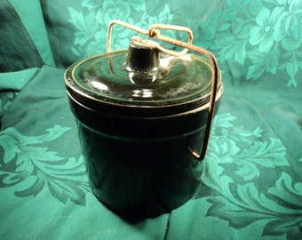 Vintage Stoneware Crock with Lid, Marked USA, Primitive Rustic Decor