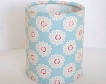 Lantern Night Light in Aqua Daisy Fabric - Safe Battery Operated Tea Light