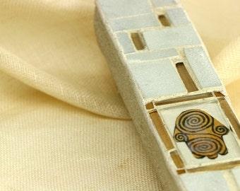 "Mezuzah case, ""Hamsa""Jewish Mezuzah gift, Jewish HouseWarming , Gold Glass Mezuzah,Mosaic Judaica, for a 6"" Scroll, Israeli Artist."