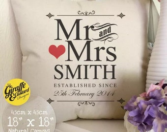 PERSONALISED Wedding anniversary Mr and Mrs bride and groom Large Cotton Canvas Cushion Cover