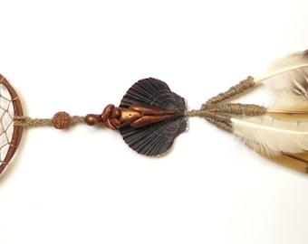Handmade powerful dreamcather, natural non cruelty feathers - Attrape rêve puissant, fait main avec plumes naturelles et sans cruauté