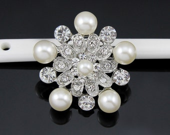 2PCS Flower Rhinestone Brooch Pearl Crystal Brooch Bridal Brooch Wedding Bouquet Wedding Cake decoration Hair Comb Shoe Clip DIY Supply