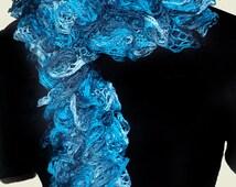Scarf - Crocheted Sashay Yarn - Blue