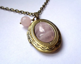 Bronze tone locket necklace rose quartz cabochon rose quartz bead rose