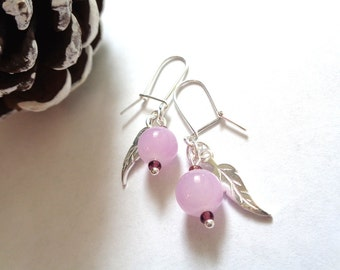 925 sterling silver dangle earrings glass bead silver feather rose pink lilac