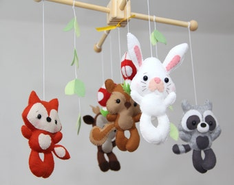Baby Crib Mobile -  woodland animals Mobile - Nursery Forest Crib Mobile -Forest Little Creatures
