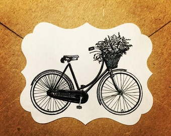 Envelope Seals / Stickers - Bicycle with Flower Basket #100 Qty: 30 Stickers