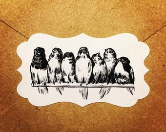Envelope Seals / Stickers - Birds on a Wire # 161 Qty: 30 Stickers