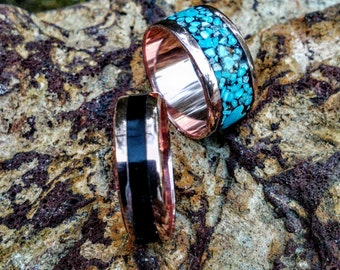Inlaid Copper Ring Band. Choose your wide 6mm - 15mm and Inlay Stone.
